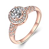 Classic 18K Rose Gold Plated Ring Luxury Diamond Wedding Engagement Rings Jewelry Rings for Anniversary, size 6