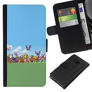 YiPhone /// Tirón de la caja Cartera de cuero con ranuras para tarjetas - Pokemen Colección - HTC One M9