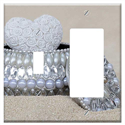 1-Toggle 1-Rocker/GFCI Combination Wall Plate Cover - Jewelry Box Beads Gloss Silver Nacre Jeweller