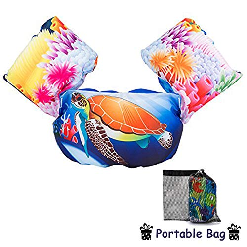 Elejolie Swim Aids for Toddlers,Kids Learn to Swim Life Jacket for Toddlers,Swim Aid Floater Life Vest (Turtle)