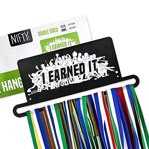 Nifty Life Medal Holder Display + I Earned it + Wall Mounted Medal Hanger for All Sports + Displays 30+ Medals + Makes a Great Gift