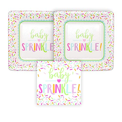 Baby Sprinkle Paper Dessert Plates and Paper Beverage Napkins, Bundle- 3 Items