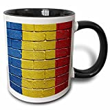 3dRose Carsten Reisinger Illustrations - National flag of Romania painted onto a brick wall Romanian - 11oz Two-Tone Black Mug (mug_156973_4)