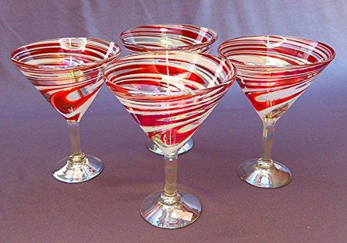 Martini Glasses, Hand Blown, Red White Swirl 15 Oz (Set of 4) -