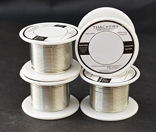 Thackery Silver Flux Core Solder Wire - SAC305 - available in 1mm and .8mm thickness - sold by the foot/meter (5m/15ft x 1mm Thickness)