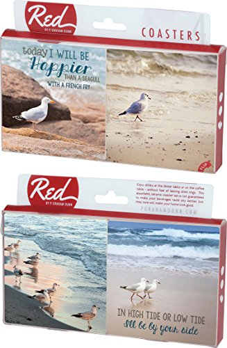 - Happier Than a Seagull 4 Piece Absorbent Ceramic Coaster Set