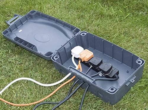 Masterplug - Caja de recinto impermeable con cable de extensión de 4 clavijas de 10 m, color gris B4kXo1Tg