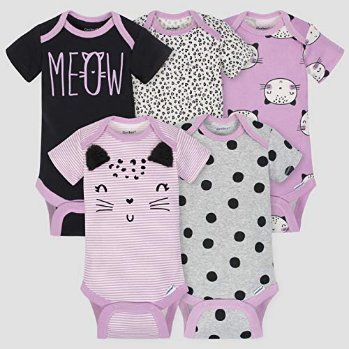 Gerber Baby Girls Onesies Bodysuits 5 Pack, Purple Cats, 0-3 Months