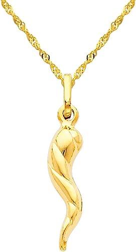 14k Yellow Gold Twisted Cornicello Italian Horn Charm Pendant