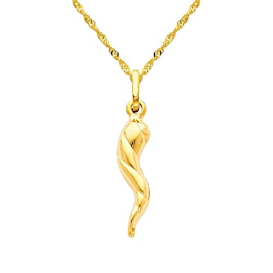14k yellow gold twisted cornicello italian horn pendant with 12mm 14k yellow gold twisted cornicello italian horn pendant with 12mm singapore chain necklace 16quot aloadofball Images