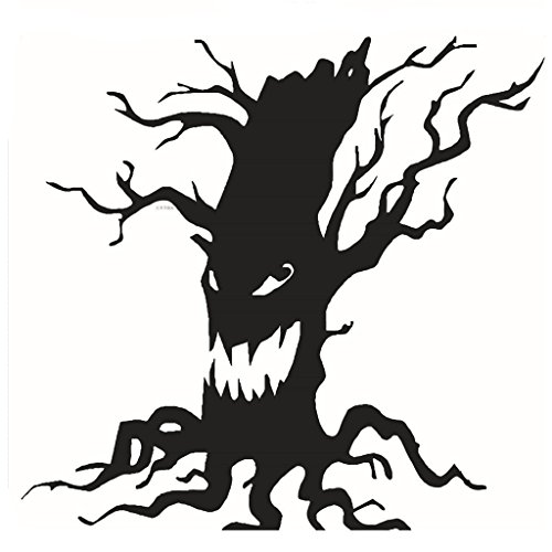 Fang Sky Spooky Tree Halloween Vinyl Art Scary Ghost Face Funny Home Decor Wall Stickers