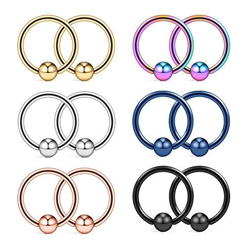 Ruifan 12PCS 316L Surgical Steel Captive Bead Rings Nose Belly Eyebrow Tragus Lip Ear Nipple Hoop Ring BCR 14G 12MM (12 Mm Captive Ring)