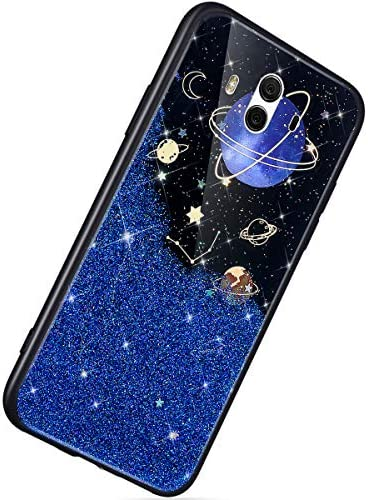 Herbests Kompatibel mit Huawei Mate 10 Hülle TPU Schutzhülle Glitzer Sterne Universum Planet Muster Ultra Dünn Handyhülle TPU Bumper Weiche Silikon Rückseite Stoßfest Hülle,Blau