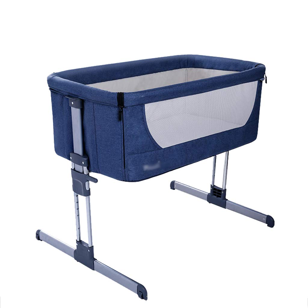 Crib Baby Cot Multifunction Aluminum Alloy Cradle Bed European Style Foldable (Color : Blue, Size : 687891cm)