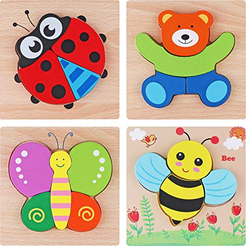Tinabless Wooden Animal Jigsaw Puzzles, Wooden Shapes Puzzles for Toddlers 1 2 3 Years Old, Boys & Girls Educational Toys Gift with 4 Animals Patterns, Bright Vibrant Color Shapes (Animal Shapes Puzzle)