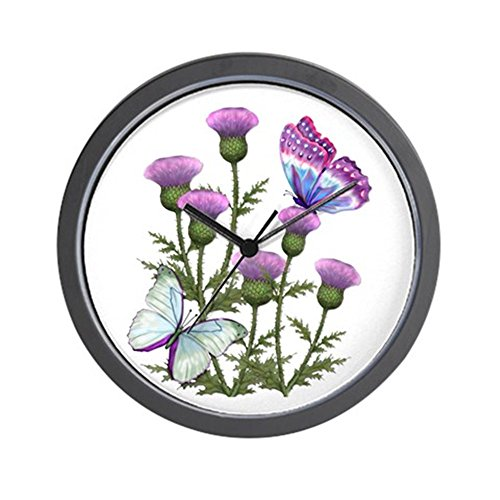 - CafePress - Thistles and Butterflies Wall Clock - Unique Decorative 10