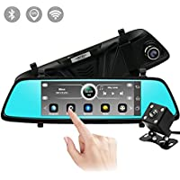 E-More Dash Cam Backup Camera HD Mirror Cam DVR GPS Bluetooth Dual Lens Rearview Mirror Video Recorder 1080P Automobile Car DVR Touch Screen Rearview Parking Camera Support Android OS WiFi (7 Inch)