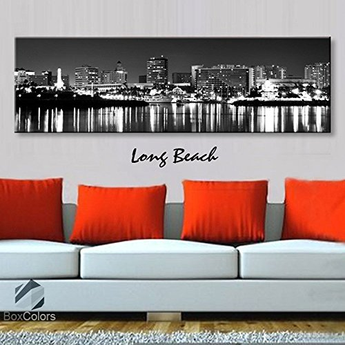 Ca Panoramic Map - Original by BoxColors Single panel 3 Size Options Art Canvas Print Long Beach City Skyline Panoramic Downtown Night black & white Wall Home Office decor (framed 1.5