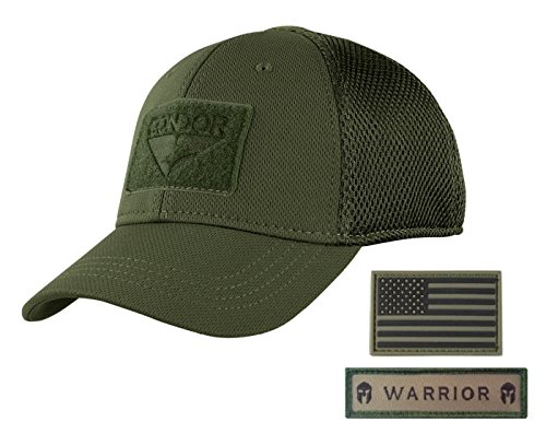 Active Duty Gear Condor Flex Mesh Cap (OD Green) + PVC Flag & Warrior Patch, Highly Breathable Fitted Tactical Operator Hat (S/M)