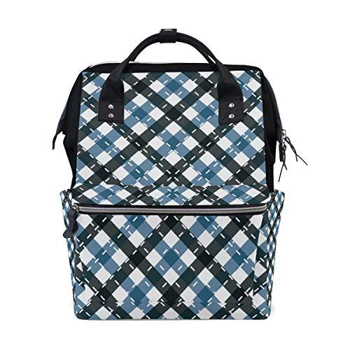 Backpack Blue Black Check Plaid Cross Lines Large Capacity Bag Travel Daypack