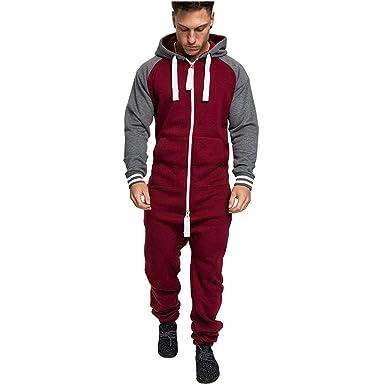 09fcc49b186ab1 Rosennie Mens Onesies,Men Solid Colour Fashion Casual Zipper Jumpsuit  Autumn Winter Hoodies Fitness Sweatshirt Slim Romper Hooded Pocket Sport ...