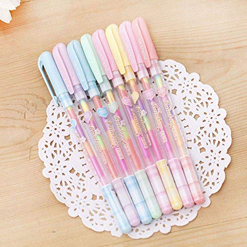 6PCS/lot Rainbow Color Gel Pen 6 In 1 Color Pens DIY Album Photo Decoration Highlighter Marker Pen (Rainbow Gel Ink)