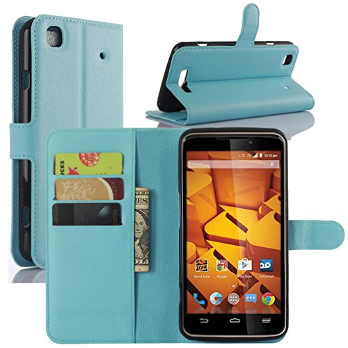 ZTE Boost Max+ Cases, Premium PU Leather Wallet Flip Case Cover with Stand Card Holder for ZTE Boost Max+ Plus N9521 Mobile Phone (Wallet - Blue) (Phone Cases For A Boost Max Zte)