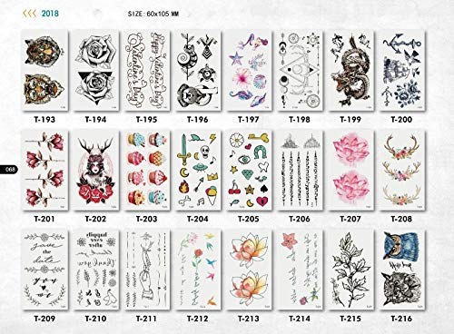 10 Sheets Women Men Temporary Tattoos Body Stickers - For Boys Girls Teens and Adult - Waterproof Colourful Arms Hands Shoulders Tattoos | Flowers | Birds | Animals | Removable