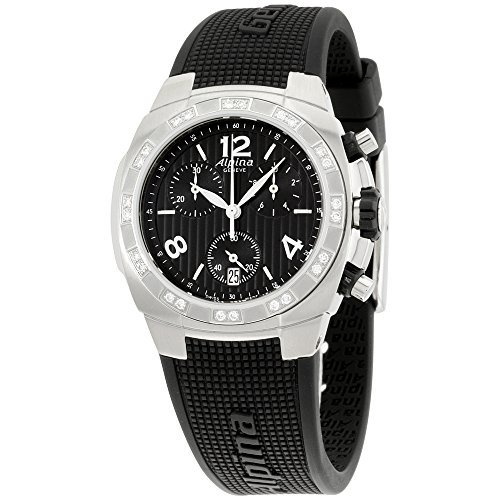 Alpina Avalanche Black Dial Silicone Strap Diamond Ladies Watch AL350LBBB2AD6