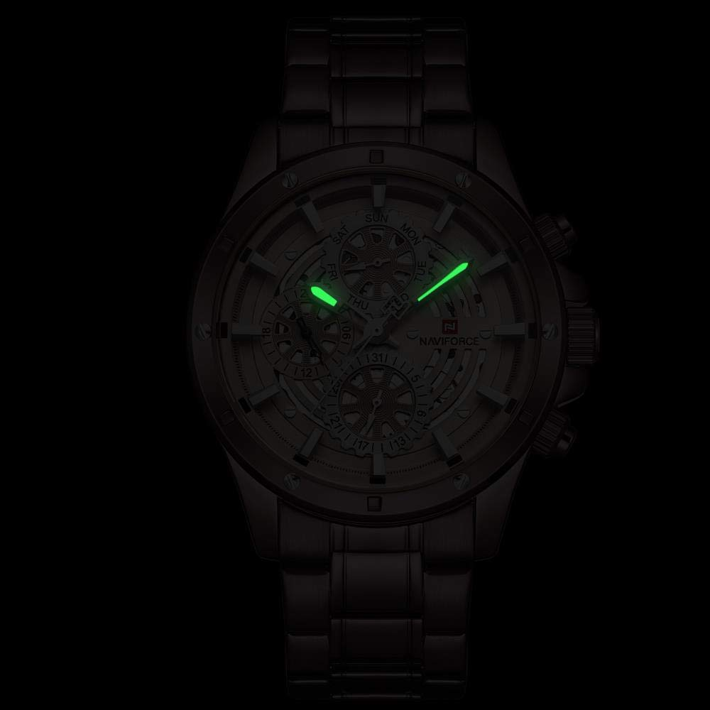 Armbandsur stålbälte multifunktion 3 ögon kvartsur mode herrklocka BLÅ