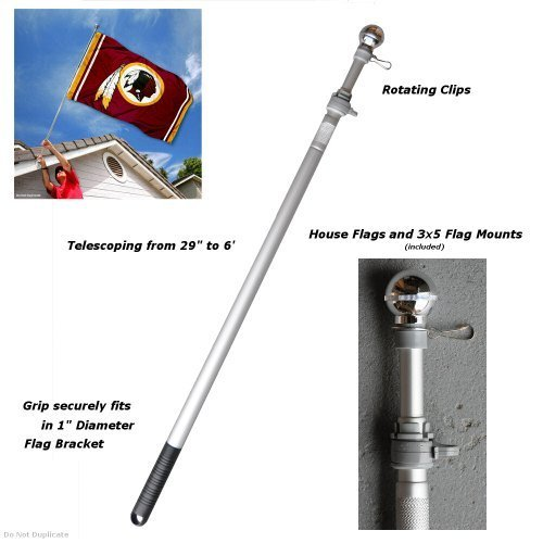 Price comparison product image 6 Foot Flag Pole Aluminum Spinning Flagpole for Grommet or House Flag by Sports Flags and Pennants Co.