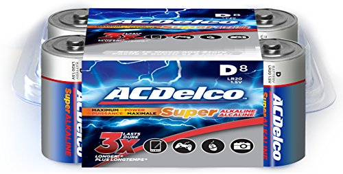 ACDelco D Batteries, Super Alkaline D Battery, High Performance, 8 Count Pack