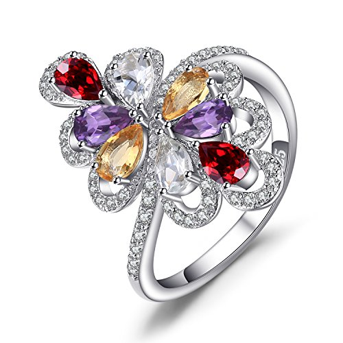 - JewelryPalace luxury 1.4ct Pear Multicolor Genuine Amethyst Garnet Citrine Green Amethyst Cocktail Ring 925 Sterling Silver Size 9