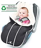 Wallaboo Baby Universal Bunting Bag, for Car Seat Stroller Pushchair, Footmuff Sack,  Luxurious suéde and soft faux sheerling, Newborn upto 12 months, 84x50cm, Size: 33 x 20 inch, Color: Black
