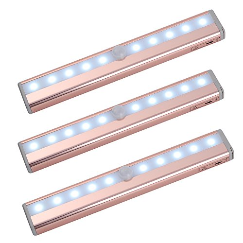 Zoeson 10 LED Battery-Operated 3-Pack Motion Sensing Closet Light Under Cabinet Light