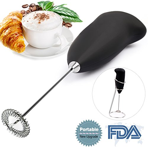 Milk Frother Handheld Battery Operated Electric Foam Maker for Coffee,Latte,Cappuccino,Hot Chocolate,Durable Drink Mixer Stainless Steel Whisk Include Stainless Steel - Hot Mixer Chocolate
