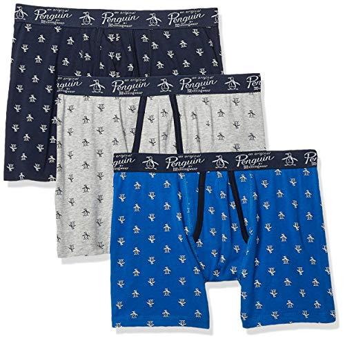 Original Penguin Men's Cotton Stretch Boxer Brief Underwear, Multipack, LTGYH/SKCPTE/Cobalt - 3 Pack, - Penguin Pack