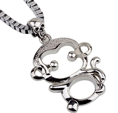 Most Beloved Sterling Silver New Cute Small Lucky Monkey Skull Charm Pendant Necklace Jewelry (Asha'man Costume)