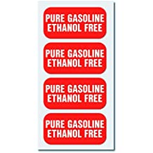 """PURE GASOLINE - ETHANOL FREE - Fuel Sticker Decal - 4 Pack - 2"""" x 1"""" - Extreme Quality - Weather Resistant - Commercial Grade"""