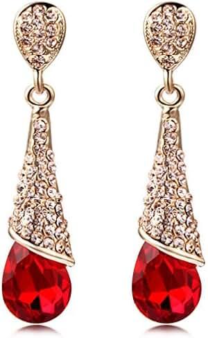Calors Vitton Summer Jewelry Gold Plated Full Rhinestone Classical Long Drop Earrings for Women