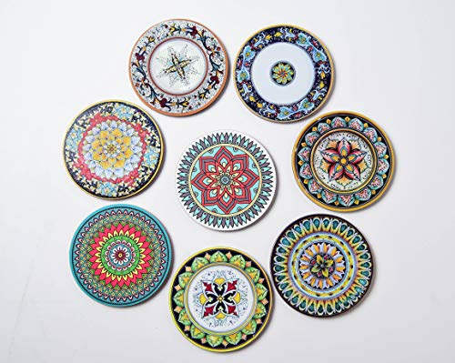 Growthbrands 8 Piece Absorbent Reusable Drink Coaster Mats - Set of 8 Moisture Absorbing Coasters Bohemia Style Cork Base for Home, Restaurant/Bar Drinks. Save Furniture From Drink & Water Rings by Growthbrands