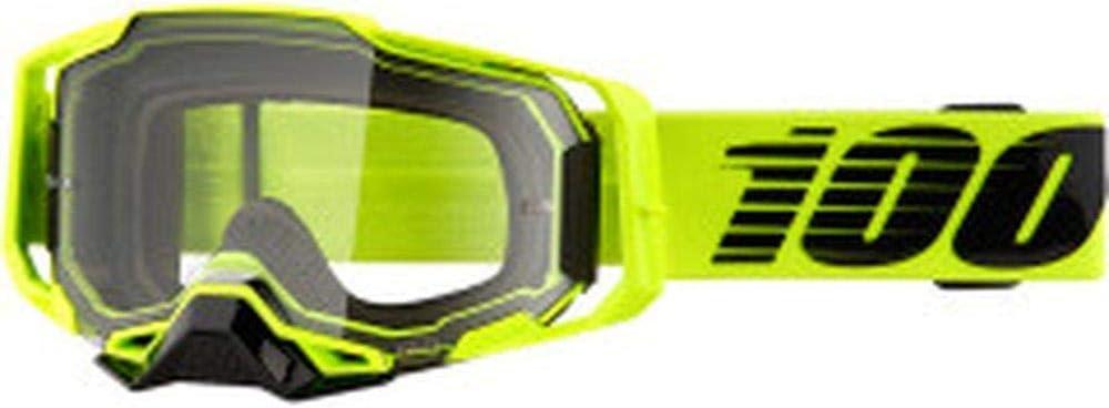 100/% Armega Nuccir Motocross MTB Goggles Neon Yellow Clear Windscreen