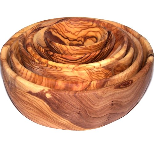 Olive Wood Handcrafted Bowls, Set of 6 sizes ( 2.8 - 7.2 Inches in diameter ) - Asfour Outlet Trademark by Holy Land Market (Image #2)