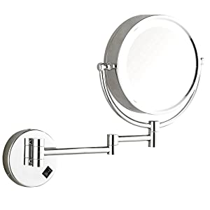 DOWRY Wall Mounted Makeup Mirror, White Nature LED Lighted Magnifying Mirror, 360° Swivel Extendable Cosmetic Vanity Mirror for Bathroom Hotels 8 Inch, Polished Chrome, Powered by US Plug