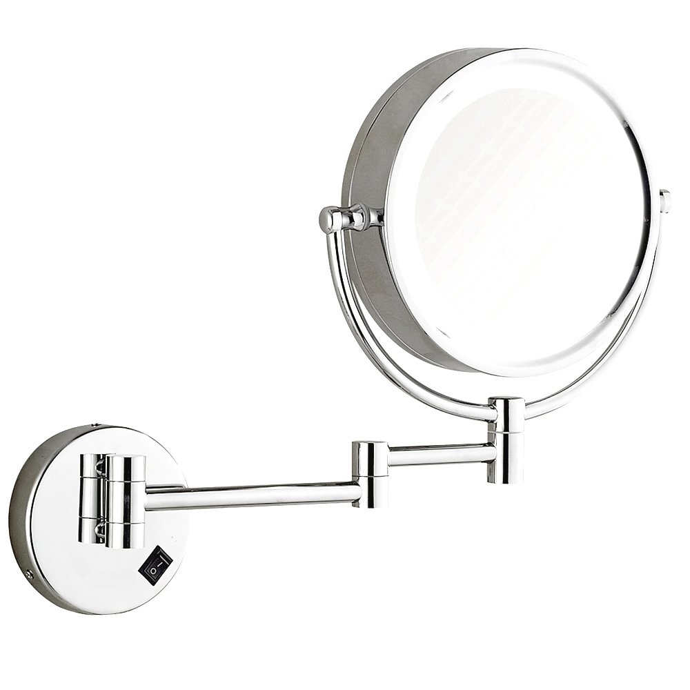 DOWRY Wall Mounted LED Lighted Makeup Mirror Hard Wire, 8 Inch Cordless, Double-Sided Polished Chrome Finished, Brass 1809D-Hardwire (10x, Chrome) Not Battery Powered