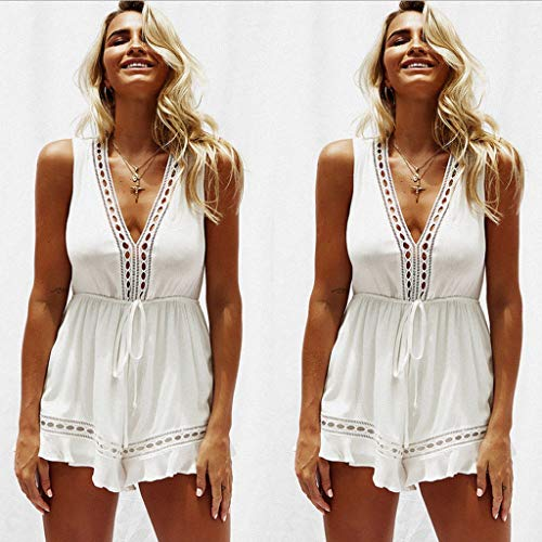 Fashion Elegant Rompers Print lace Jumpsuit Summer Short Pleated Overalls Jumpsuit Chest Wrapped Strapless Bodysuit White L