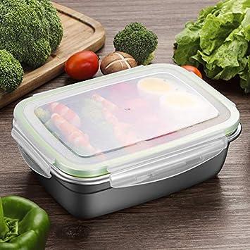 GA Homefavor Bo/îte /à D/éjeuner Bo/îte /à Repas Box /à Lunch en Acier Inoxydable Couvercle en Plastique Contenant de Salade de Fruits R/écipient pour Le Stockage de la Nourriture Ensemble de 2 pi/èce