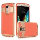 LG K10 Case, Pasonomi® [Bumper Frame] Textured Pattern Grip Cover [ShockProof] Ultra Slim Hybrid Cover for LG K10/LG Premier LTE L62VL L61AL 2016 (Orange / Gold)
