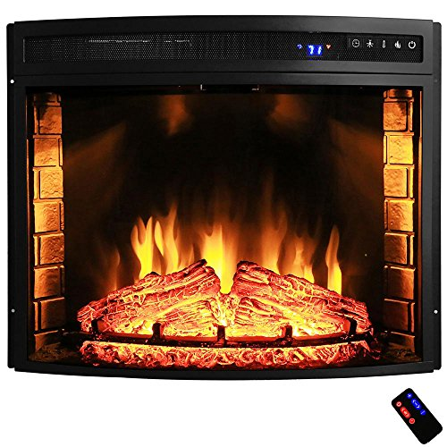 28 in. Freestanding Electric Fireplace Insert Heater in Black with Curved Tempered Glass and Remote Control (Woodburning Fireplace Heater compare prices)