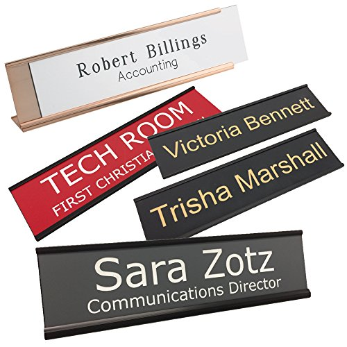 Wall Plate Office - Personalized Name Plate With Wall or Office Desk Holder - 2x8 - CUSTOMIZE
